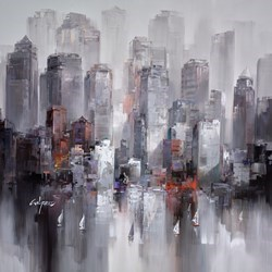 Sailing to the City II by Wilfred -  sized 38x38 inches. Available from Whitewall Galleries